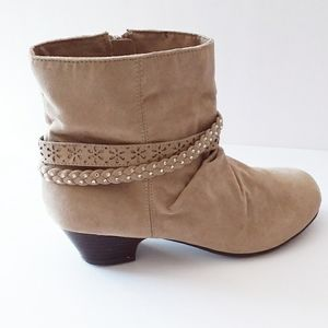 Bongo Tan Suede Slouch Booties & Straps Crystals